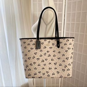 Coach Crayon Hearts Print Reversible City Tote